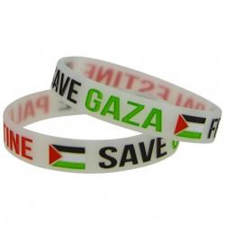 Free Palestine Save Gaza Armband (transparent weiß)